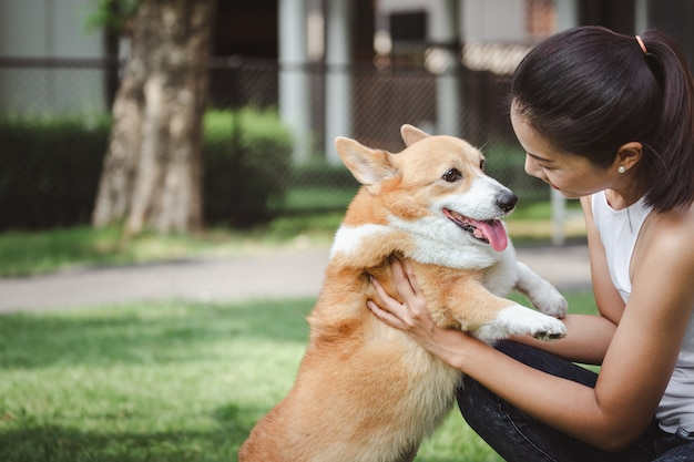 ウェールズのコーギーペンブローク犬とアジアの女性