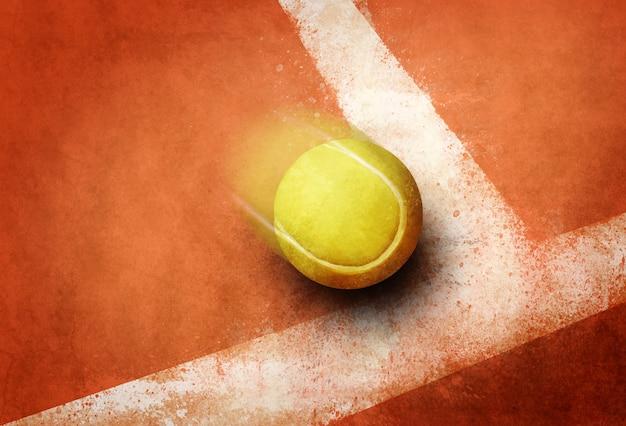テニスボールにコーナーレッドグラウンドフィールドライン