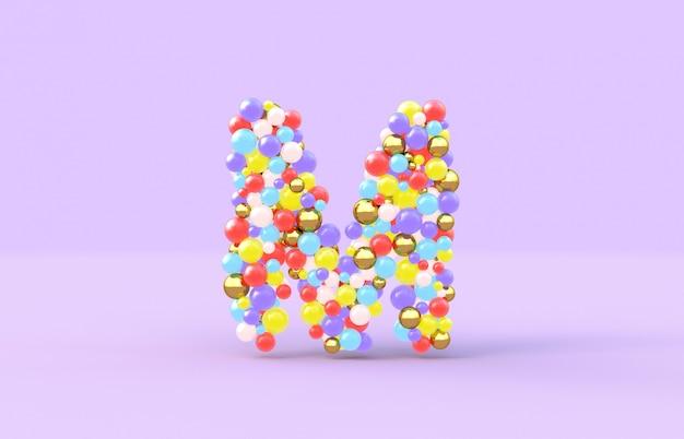Сладкие конфетные шарики буква м