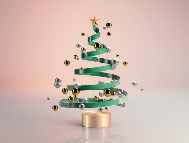 幾何学的なボールと豪華なクリスマスツリー。