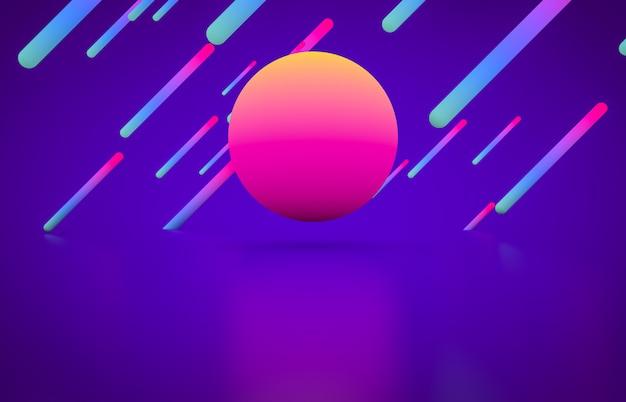 輝くネオン色の未来的な幾何学的形状の空のステージ。