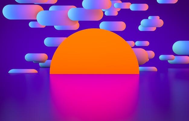 Футуристическая геометрическая форма пустая сцена со светящимся неоновым цветом.