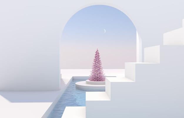 Сцена с геометрическими формами, арка с подиумом в естественном дневном свете. минимальный пейзаж с елкой