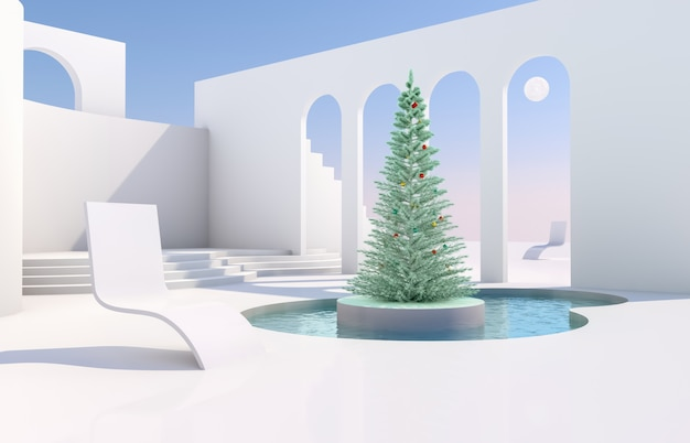 幾何学的な形のシーン、自然光の下で表彰台のあるアーチ。クリスマスツリーと最小限の風景