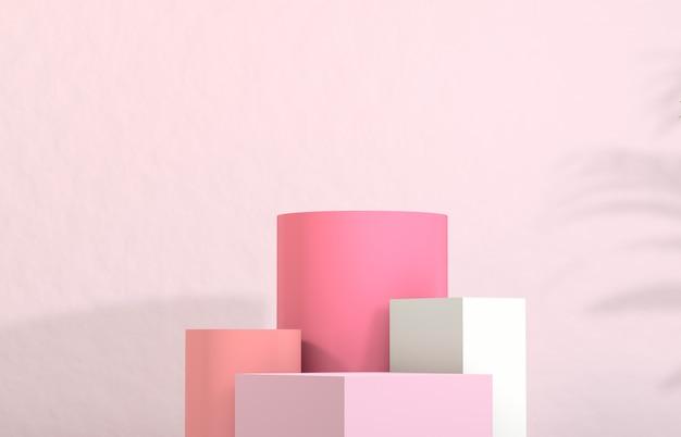 化粧品の展示。ファッション美容パステルピンク色の背景。