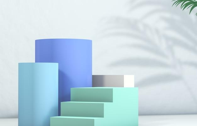 Показ косметической продукции. мода красота пастельных синего цвета фона.