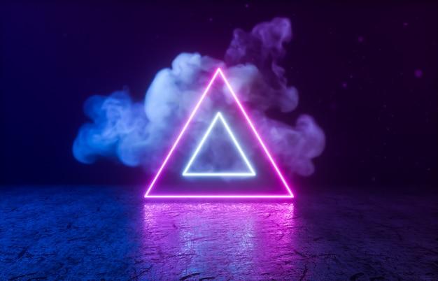 黒い部屋にネオンの光で三角形の幾何学的形状。