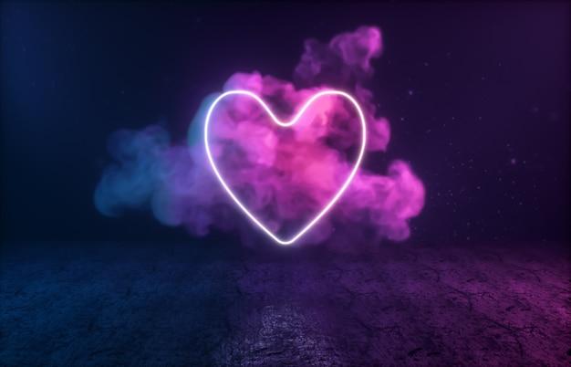 Форма сердца с неоновым светом на черной комнате.