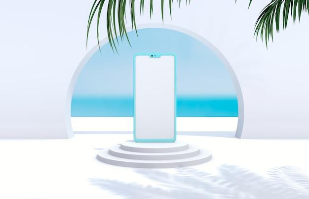 スマートフォンのモックアップで夏のシーン