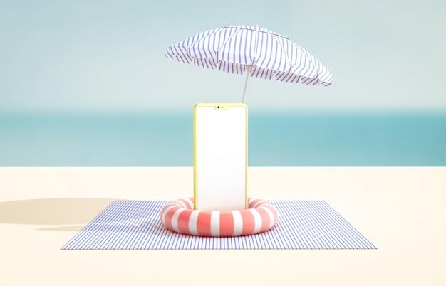 製品表示用のスマートフォンのモックアップを備えた夏のシーン