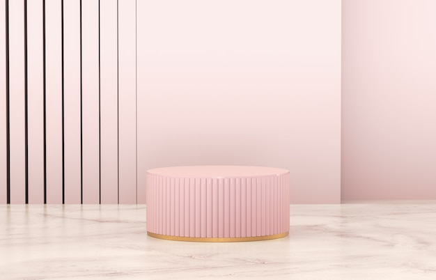 Роскошный розовый цилиндр подиум для отображения продукта.