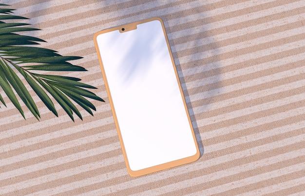 スマートフォンがリネン生地の壁にモックアップされた自然な夏の背景。
