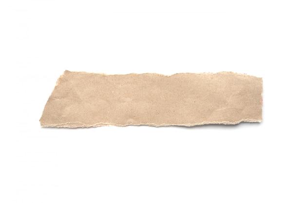 ビンテージ紙の背景をリッピングしました。白地に引き裂かれた茶色の紙。