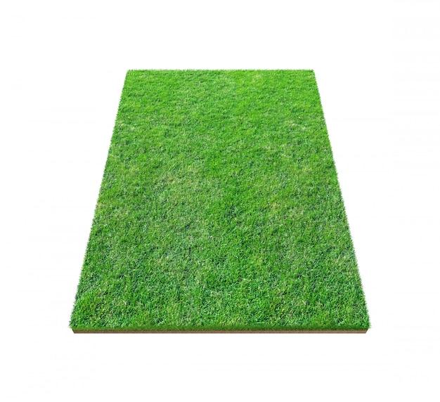 クリッピングパスを白で隔離される緑の芝生のフィールド。スポーツの背景のための人工芝芝生カーペット。