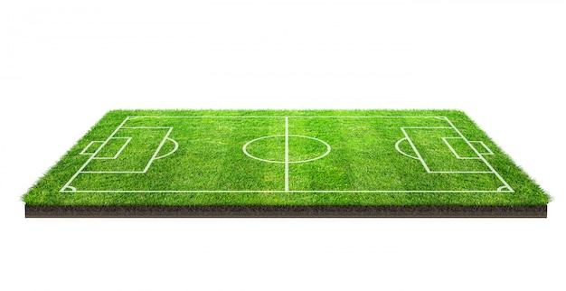 クリッピングパスと白い背景で隔離の緑の芝生パターンテクスチャ上のフットボール競技場またはサッカーフィールド。ラインパターンを持つサッカースタジアムの背景。