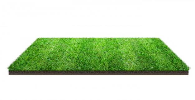 クリッピングパスを白で隔離される緑の芝生のフィールド。スポーツ場夏のチーム戦。