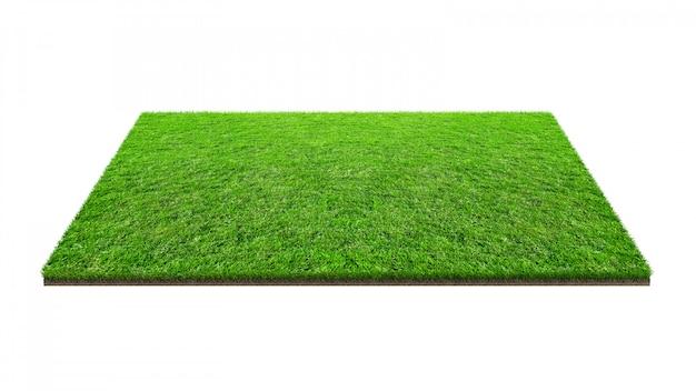 クリッピングパスを白で隔離される緑の芝生のフィールド。