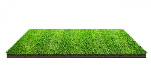 クリッピングパスで分離された緑の芝生のフィールド。スポーツ場夏のチーム戦。