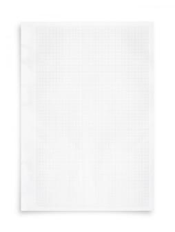 白い紙のシートとグリッドパターンの背景は、白に隔離されています。