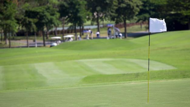 緑の芝生の上のゴルフフラグ