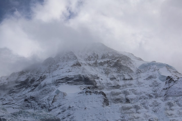 電車からスイスで秋の自然の中で雪のアルプスの山の風景の眺め