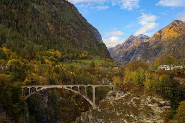 インターラーケン、スイスの秋の自然と環境の風景山と石の橋の眺め