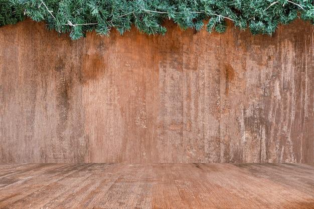 ウッドテクスチャの広い背景と自然の木の上に緑の草