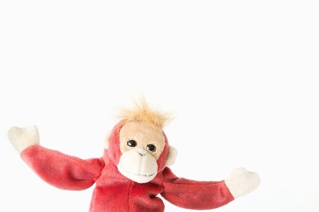 Счастливый обезьяны на белом фоне. счастливое животное расслабляющий и наслаждаясь