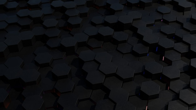 リムの光で抽象的な暗い六角形グリッドトポロジ