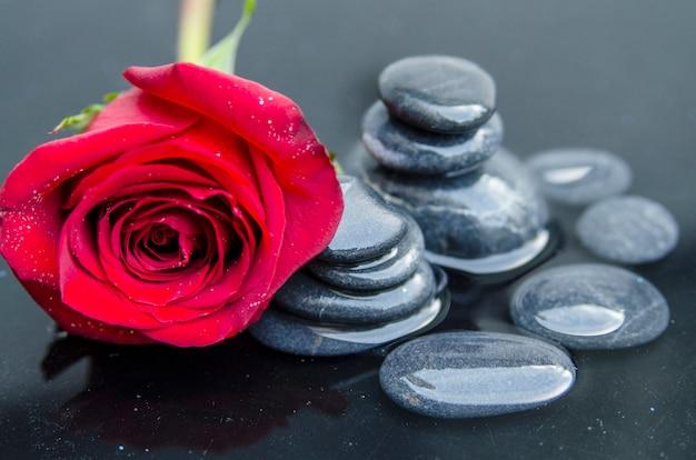 スパガーデンの浅い水に黒い小石の上に赤いバラ