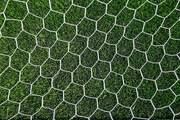 緑色の草のサッカーネット