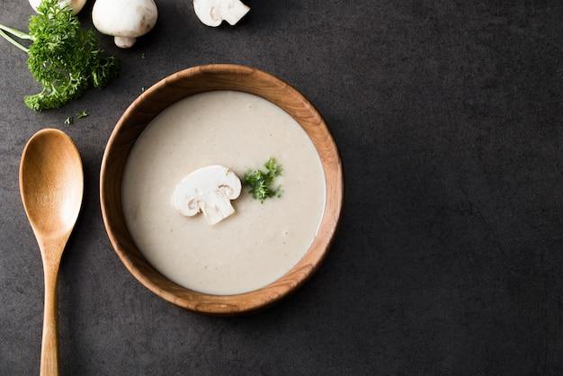 きのこのきのこのクリームスープ