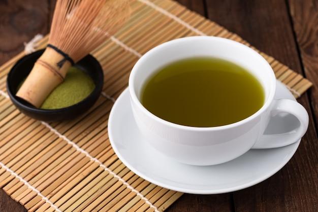 木のカップで熱いお茶
