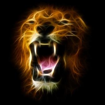 怒っているライオン