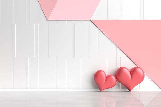 バレンタインデーの愛の白赤ピンクの部屋。赤い心臓、白ピンク赤の壁が付いています。