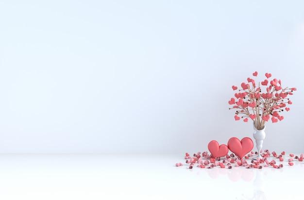 Белая комната любви. с красным сердцем, красная роза на день влюбленных.