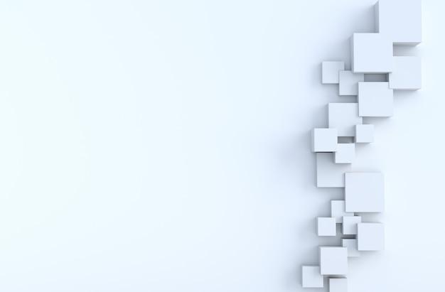 白の幾何学的な立方体形とコピースペースの背景。