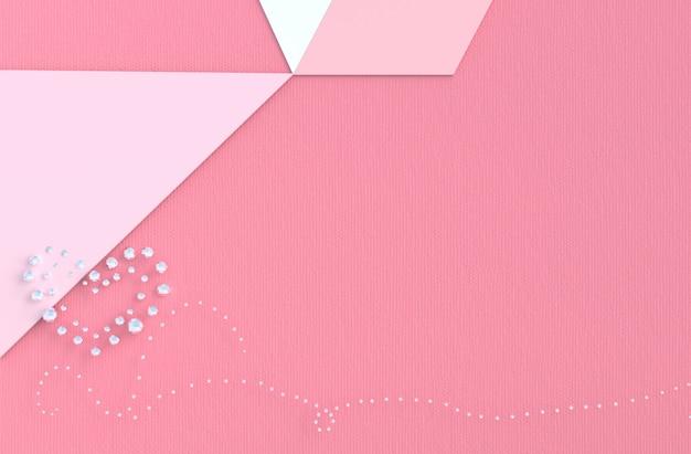ダイヤモンド、ジュエリーの心と愛のピンクの背景。バレンタインデーに。