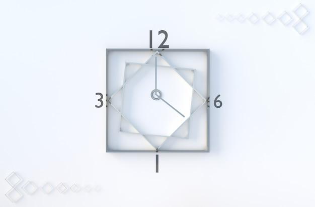 白の幾何学的な時計キューブ図形背景。