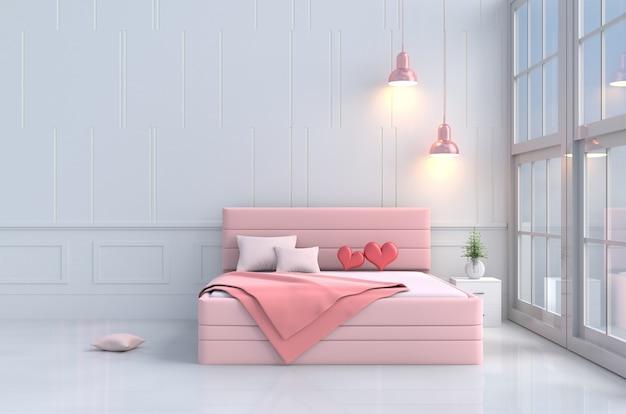 寝室のピンクベッドの赤い心