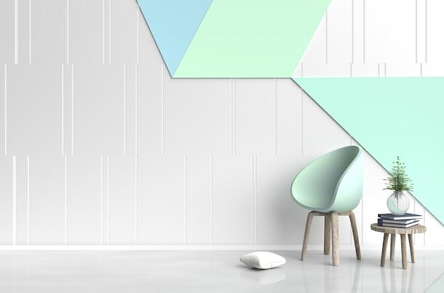 緑色の椅子、花瓶の木、枕、本、白&緑のセメントの壁を持つ白緑の部屋のインテリア。