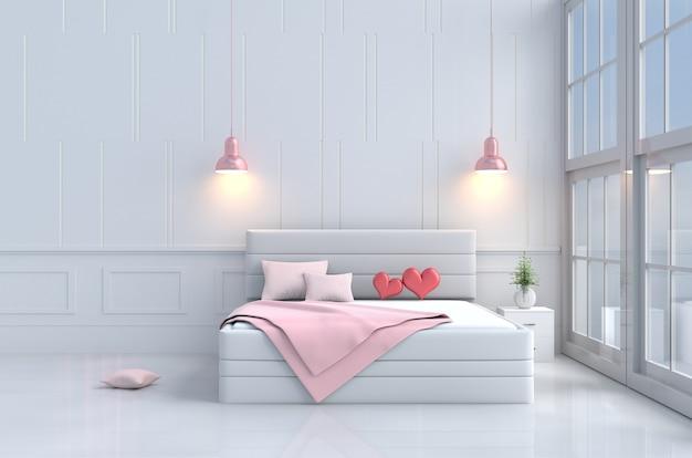 バレンタインデーの愛のベッドルーム。ピンクベッド、窓、椅子、枕、毛布、ランプの赤ちゃん