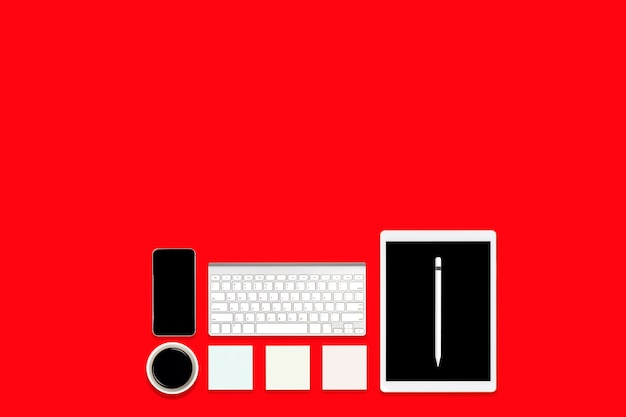Плоская планировка офисного стола с цифровой планшет, мобильный телефон и аксессуары.