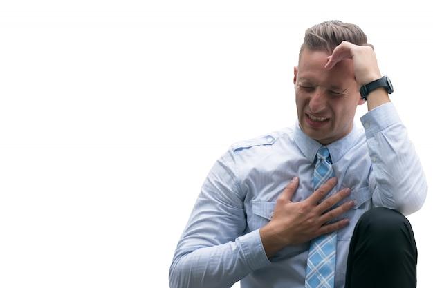 激しい頭痛、激しい頭痛、白い背景で隔離の痛みを伴う頭に苦しんでいる白人男性。