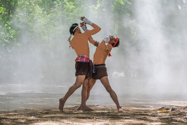 ムエタイの武道。タイボクシング。ムエタイ。