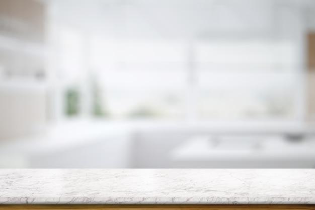 キッチンルームの背景に大理石のテーブルトップカウンター