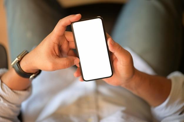 トップビュー男持株空白の分離画面携帯電話