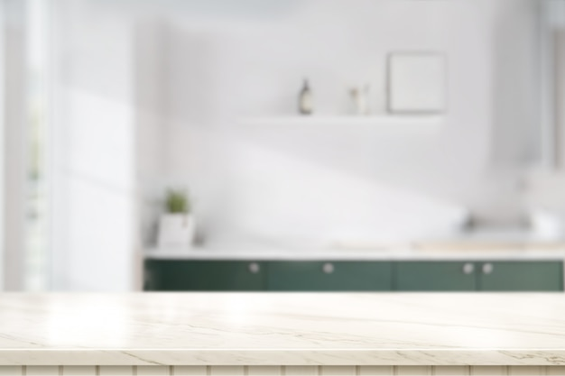 キッチンルームの大理石テーブルトップ