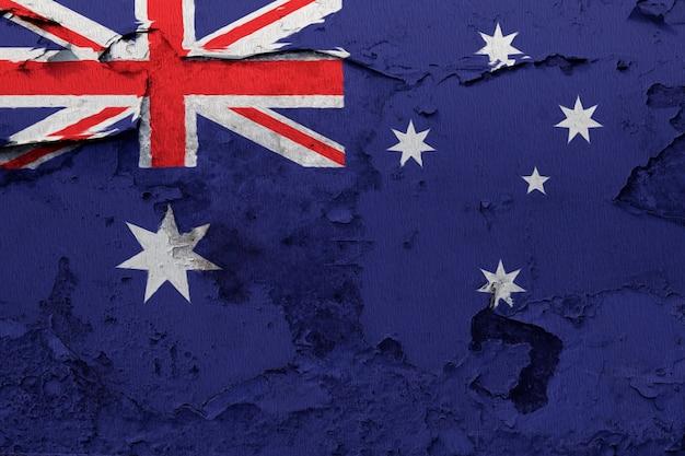 オーストラリアの旗が割れた壁に塗られた