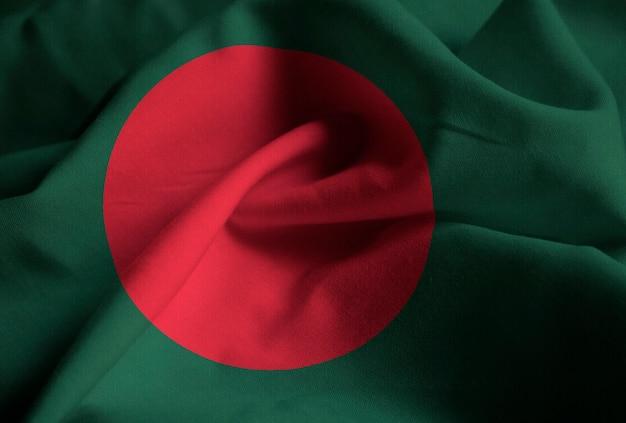 Макрофотография взломанный флаг бангладеш, флаг бангладеш, дующий в ветру